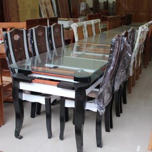 Bàn ăn gỗ tự nhiên 6 ghế màu đen trắng GHT-402