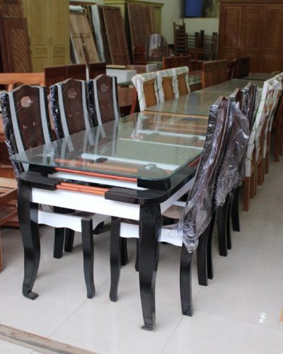 Bàn ăn 6 ghế gỗ tự nhiên màu đen trắng GHT-402