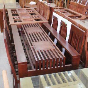 Bộ bàn ăn gỗ tự nhiên 4 ghế nan dọc sang trọng GHT-401