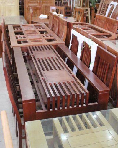 Bộ bàn ăn 4 ghế gỗ tự nhiên nan dọc sang trọng GHT-401