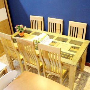 Bộ bàn ăn 1 bàn 6 ghế gỗ tự nhiên hiện đại GHT-417