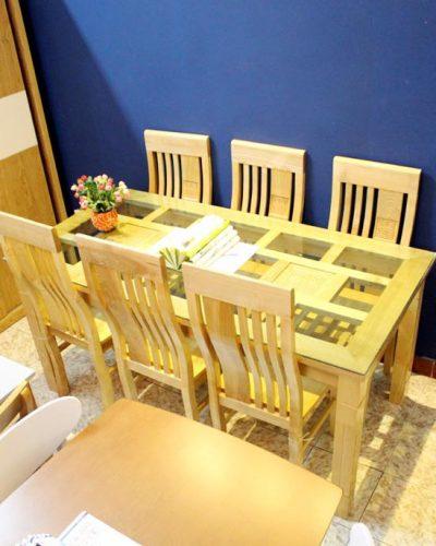Bộ bàn ăn 6 ghế gỗ tự nhiên hiện đại GHT-417