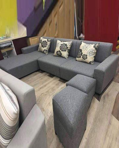 Ghế sofa góc L bọc nỉ phong cách hiện đại GHT-812