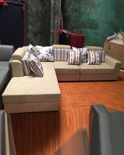 Bộ sofa góc L bọc nỉ phong cách hiện đại GHT-813