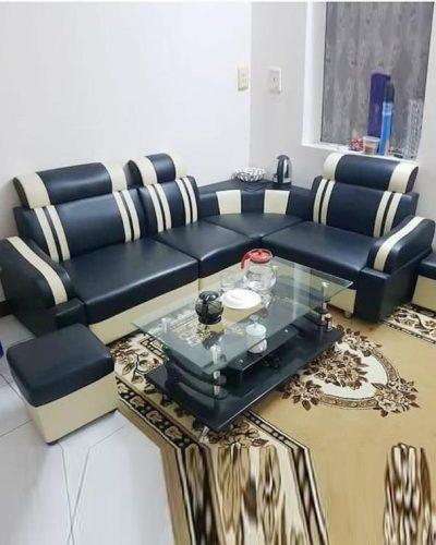 Ghế sofa giá rẻ khung gỗ bọc da công nghiệp GHT-806