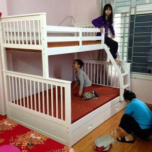 Giường tầng hiện đại làm từ gỗ tự nhiên GHT-907