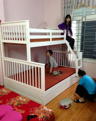 Giường tầng gỗ tự nhiên hiện đại mã GHT-907