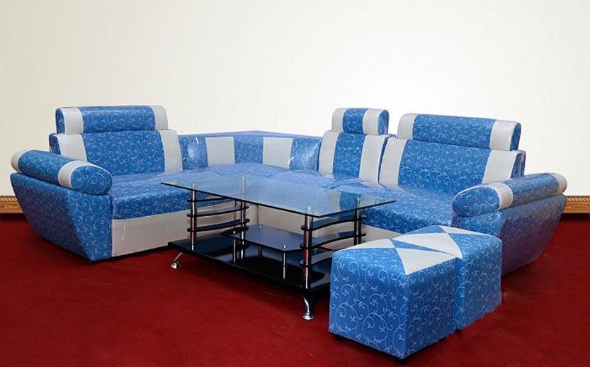 Sofa góc họa tiết hoa lá vector;