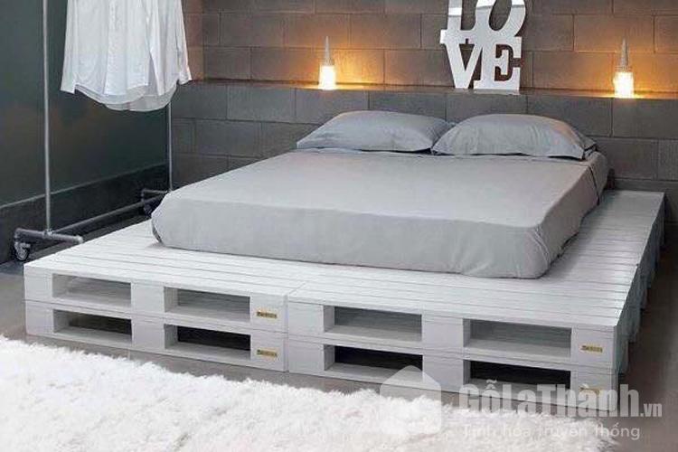 giá giường pallet màu trắng