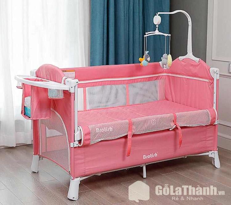 cũi khung sắt bọc vải màu hồng