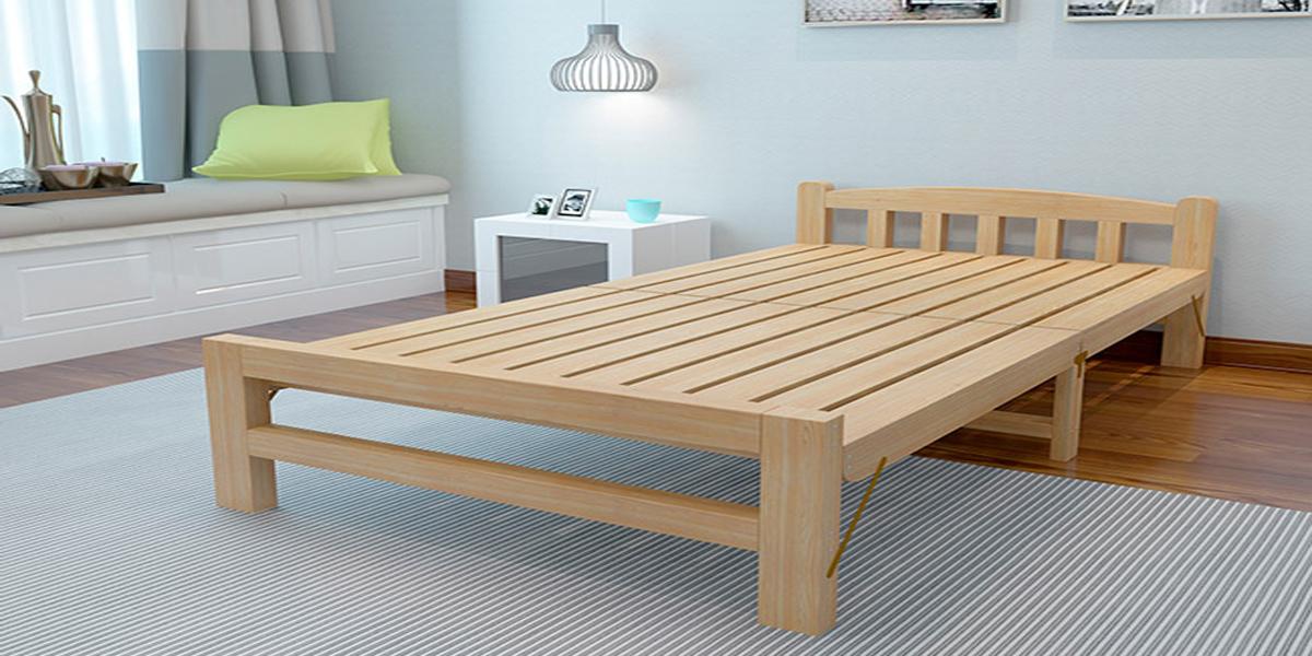 giường gấp đơn bằng gỗ