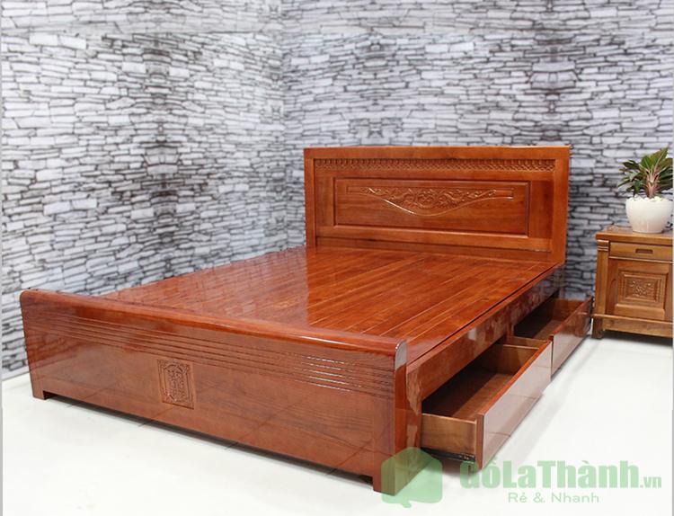giường gỗ tự nhiên có ngăn kéo
