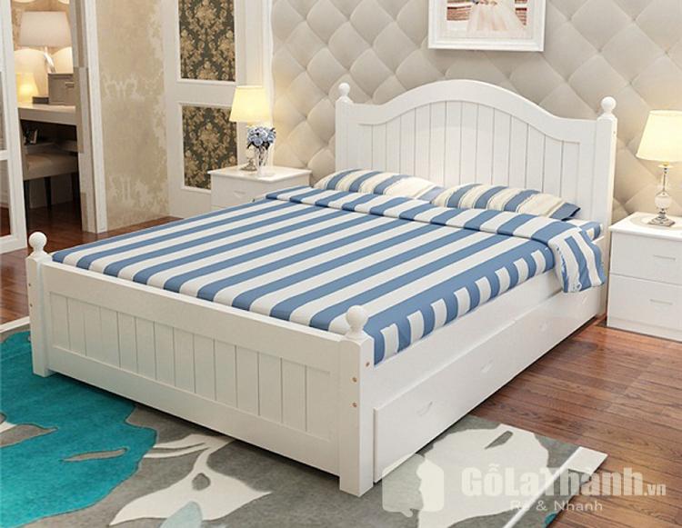 Giường trắng có ngăn kéo
