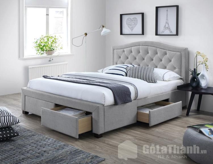 giường gỗ có hộc kéo màu xám bọc da