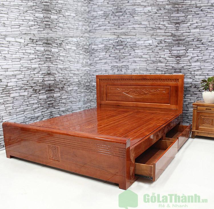 giường ngủ gỗ xoan đào có hộc