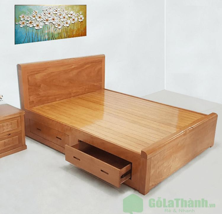 giường gỗ xoan đào có ngăn kéo