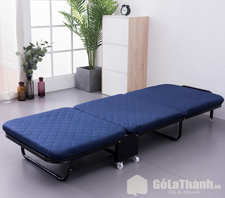 giường ngủ gấp có đệm màu xanh đen