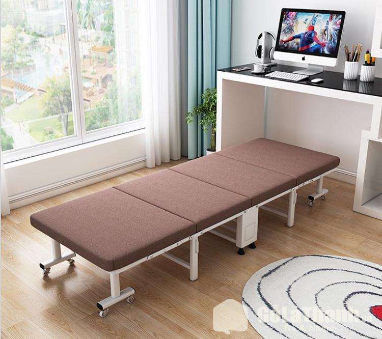 giường gấp khung kim loại đệm màu nâu