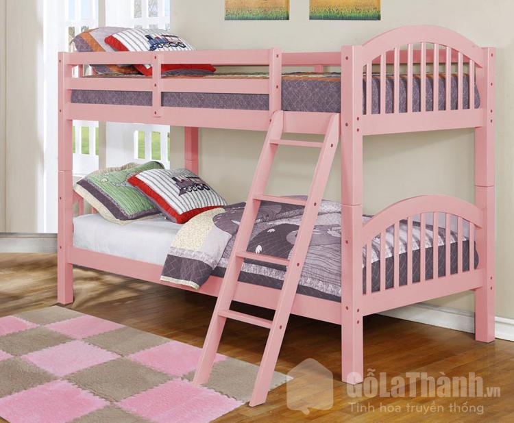 giường 2 tầng sơn màu hồng