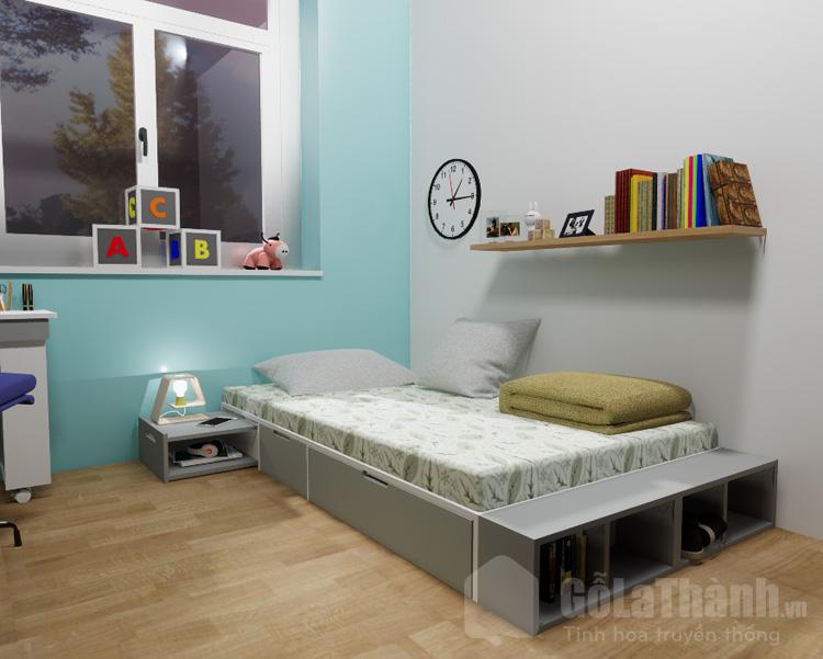 giường đơn dạng bục có ngăn kéo