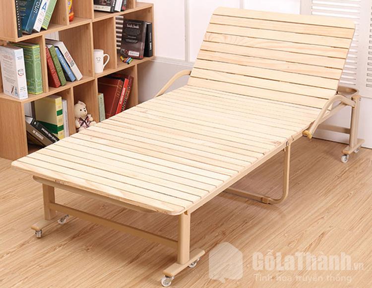 giường gỗ gấp gắn bánh xe