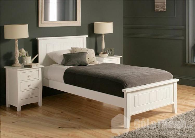 giường gỗ đơn 1m màu trắng