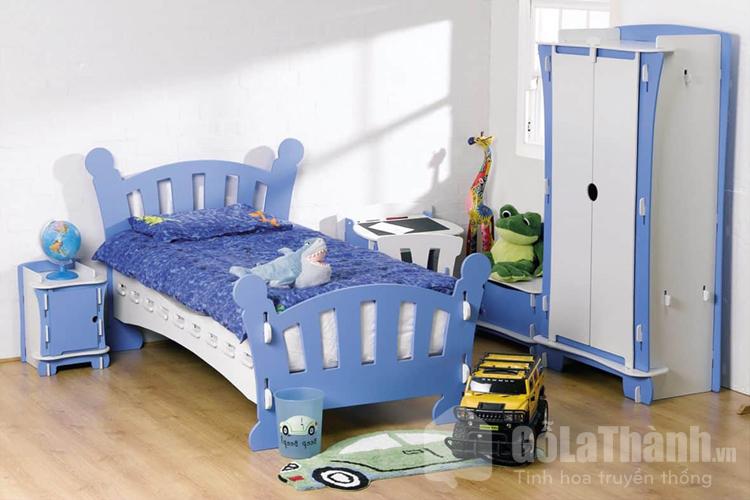 giường đơn cho bé màu xanh