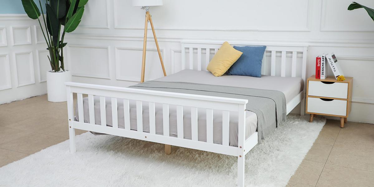 Giường gỗ trắng – điếm sáng tinh tế cho phòng ngủ