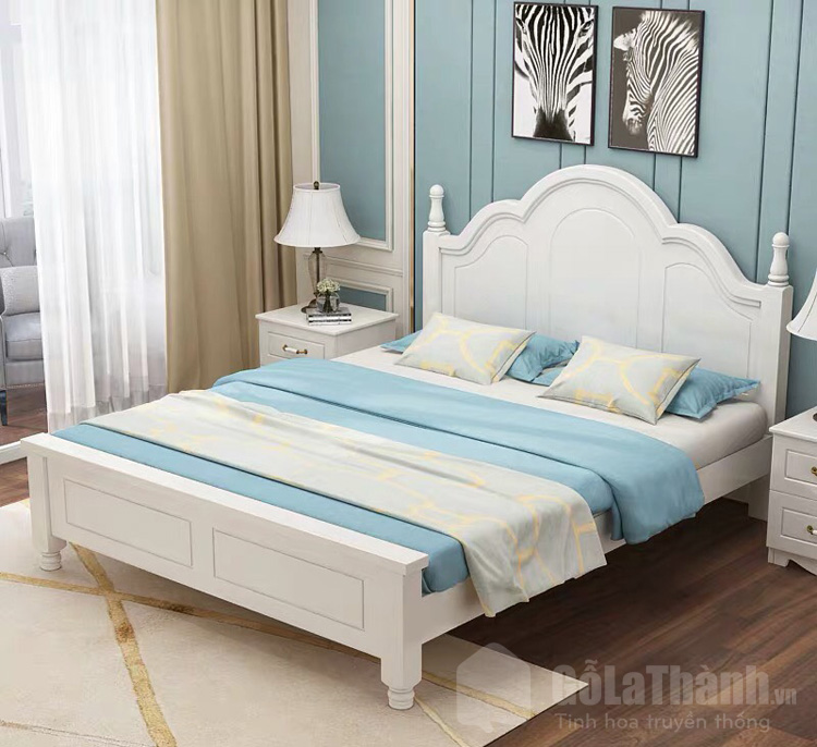 giường ngủ trắng kiểu dáng tân cổ điển
