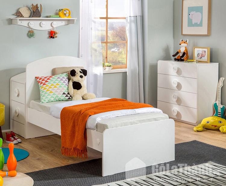 giường đơn màu trắng 1m