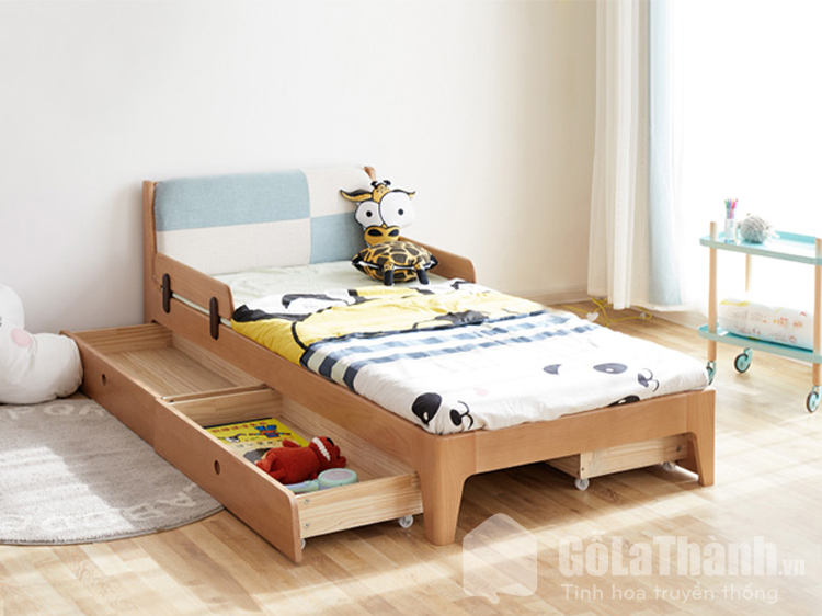 giường ngủ với ngăn kéo có bánh lăn