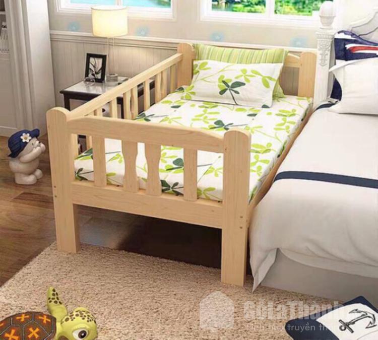 giường ngủ gỗ thiết kế ghép với giường bố mẹ