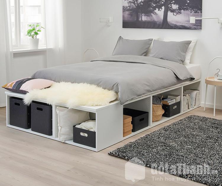 giường ngủ có ngăn kéo màu trắng