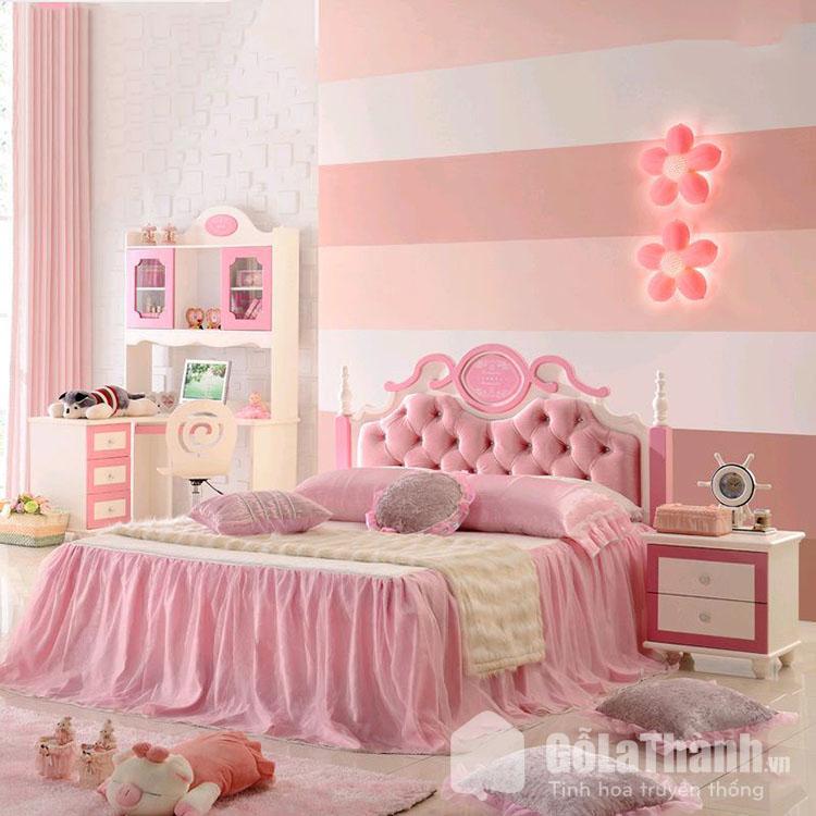 giường ngủ đẹp màu hồng