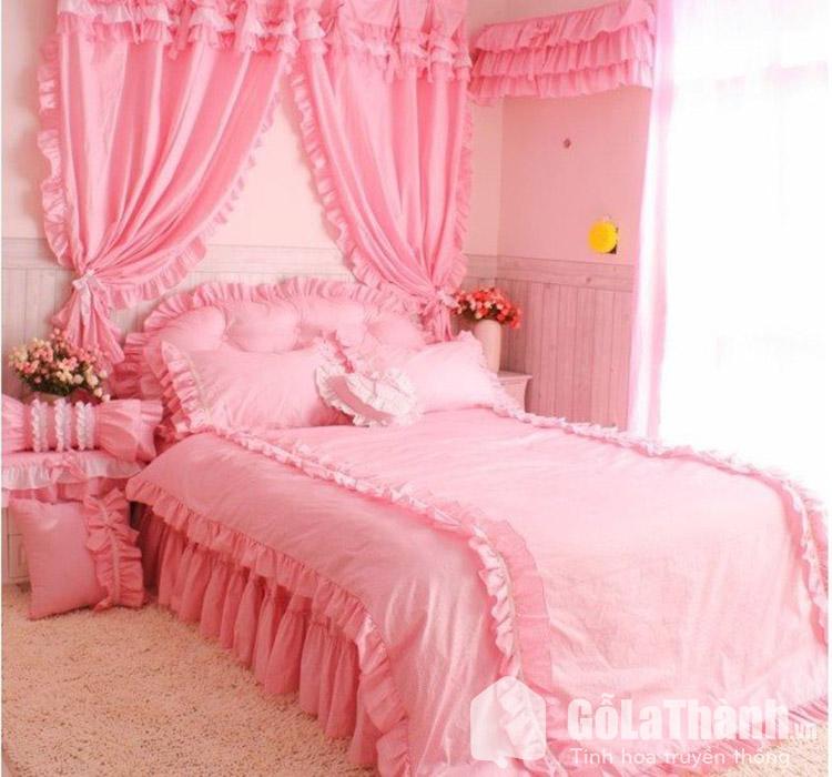 giường cưới màu hồng