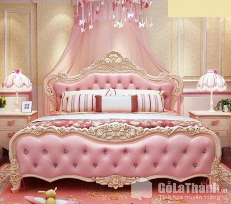 Giường ngủ màu hồng tân cổ điển