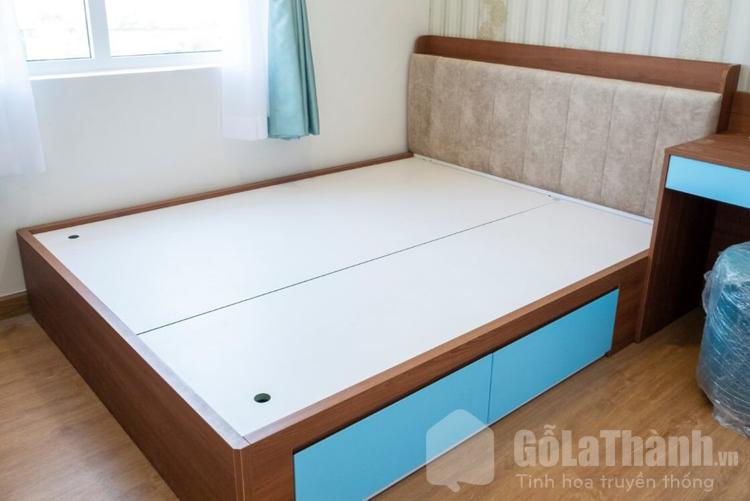 giường nhựa giả màu gỗ