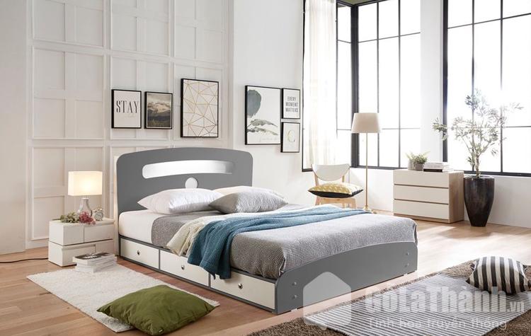 giường nhựa phối xám và trắng đẹp