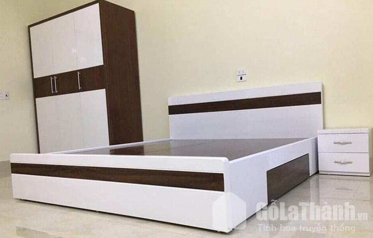 thiết kế phối màu trắng và gỗ