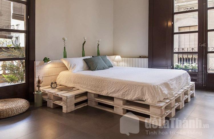 giường pallet bằng gỗ 1m8