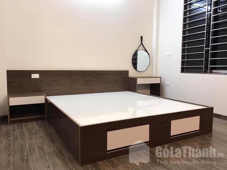 giường nhựa sơn giả gỗ