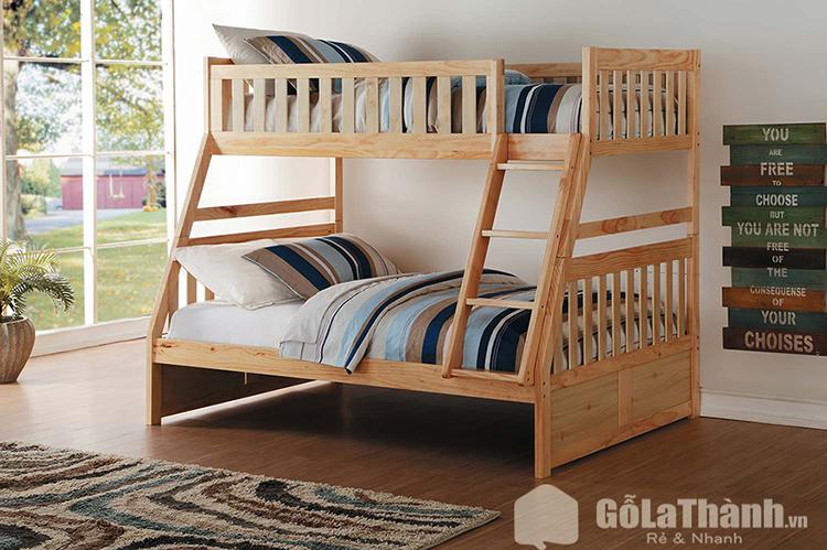 Giường tầng người lớn màu gỗ nâu