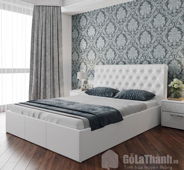 mẫu giường ngủ màu trắng đẹp