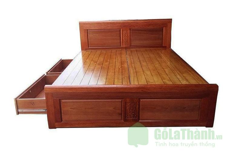 giường gỗ căm xe có ngăn kéo