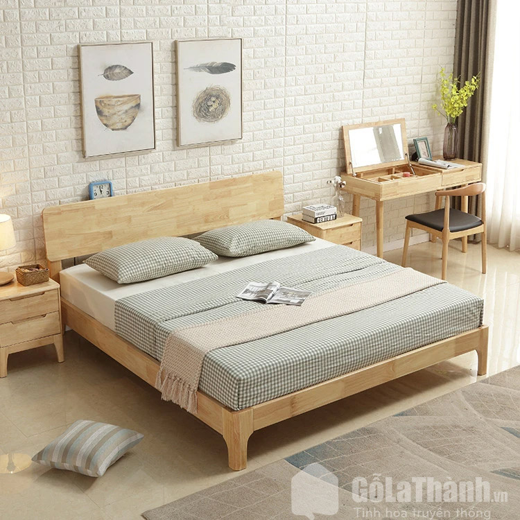 giường gỗ cao su