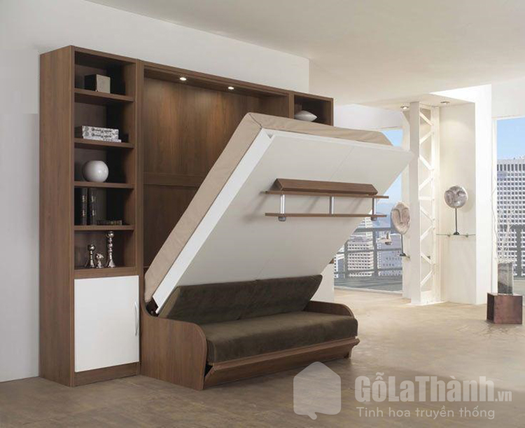 giường gỗ gấp gọn kết hợp sofa