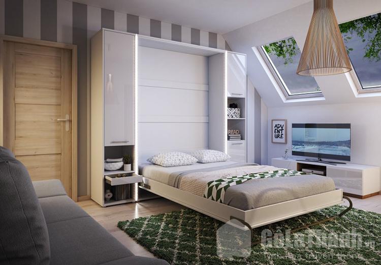 giường ngủ gấp gọn bằng gỗ