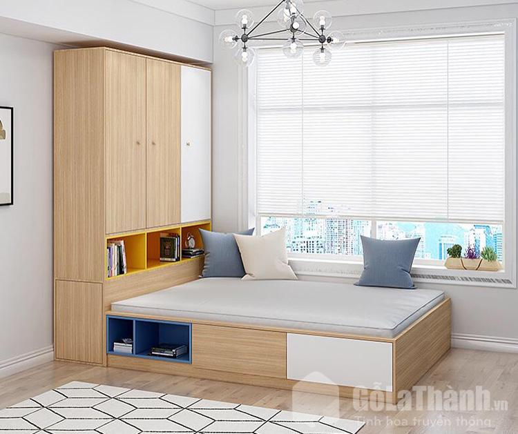 giường gỗ hộp gắn liền với tủ