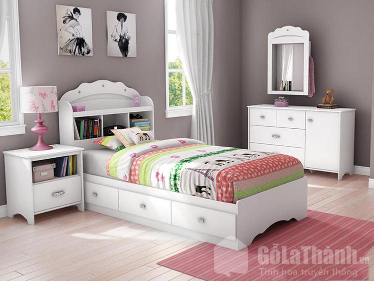 giường hộp bằng nhựa màu trắng