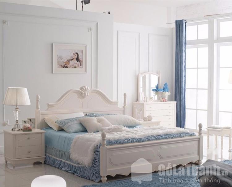 giường ngủ kiểu Hàn màu trắng